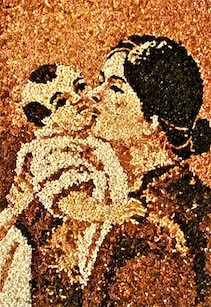Vietnamese Madonna and Child  Rice mosaic by Joseph Ky Phung, candidate in formation, Precious Blood Vietnam Mission